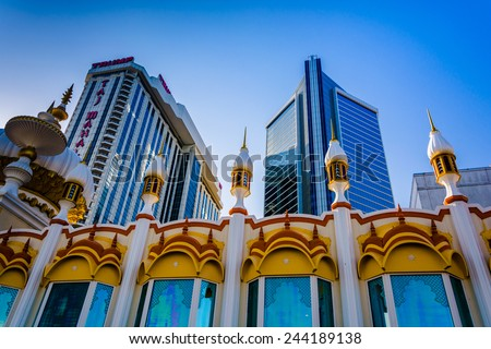 ATLANTIC CITY - MAY 30: The Trump Taj Mahal on May 30, 2014 in Atlantic City, New Jersey. The Trump Taj Mahal is a hotel and casino in Atlantic City. - stock photo