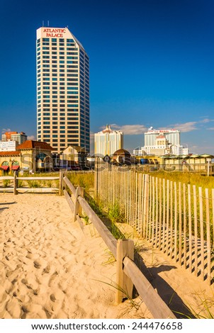 ATLANTIC CITY - MAY 30: View of Atlantic Palace on May 30, 2014, in Atlantic City, New Jersey. Atlantic Palace is an oceanfront hotel in Atlantic City. - stock photo