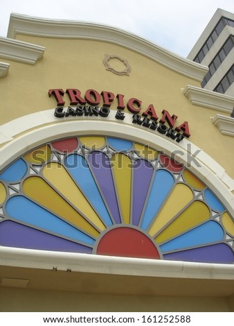 ATLANTIC CITY, NEW JERSEY - JUNE 1: Tropicana in Atlantic City, New Jersey, as seen on June 1, 2006. It is a hotel and casino located on the Boardwalk in Atlantic City. - stock photo