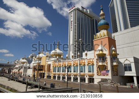 Atlantic City, New Jersey, United States - August 24, 2014:Trump Taj Mahal on the Atlantic City Boardwalk in New Jersey on a beautiful summer day on August 24, 2014 - stock photo