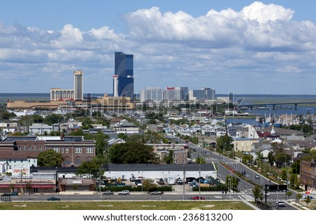 Atlantic City, New Jersey, USA - Aug 24, 2014: Golden Nugget Casino, Harrah's Casino, Gardner's Basin in the marina district of Atlantic City, New Jersey, USA on Aug 24, 2014 - stock photo