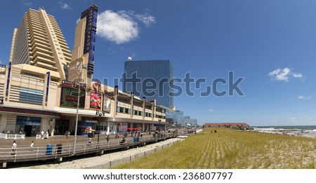 Atlantic City, New Jersey, USA - Aug 24, 2014: The Showboat Casino with the Revel Casino behind it in Atlantic City, New Jersey, USA on Aug 24, 2014
