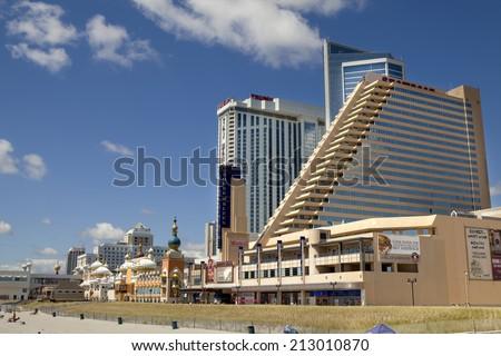 Atlantic City, New Jersey, USA - August 24, 2014:The Showboat, Taj Mahal ard Resort Casino in Atlantic City, New Jersey August 24, 2014. The Showboat Casino  will be closing in September of 2014  - stock photo