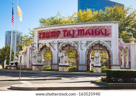 ATLANTIC CITY, NJ - SEPT 22:   View of entrance gate to Trump Taj Mahal Casino Resort from Pacific Ave in Atlantic City, NJ on Sept 22, 2013.  This boardwalk hotel opened in 1990.  - stock photo