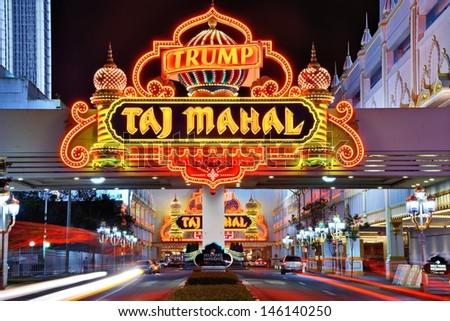 ATLANTIC CITY, NJ -  SEPTEMBER 8: Taj Mahal Casino September 8, 2012 in Atlantic City, NJ.  Gambling was legalized in the city in 1976 and led to a resurgence. - stock photo