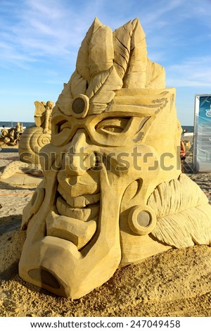 Atlantic City,NJ/USA-July 28,2014: Sand sculpting competition has evolved into a major performing arts attraction in Atlantic City, NJ. This piece of sand art was made by Daniel Belcher. - stock photo