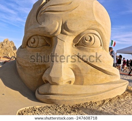 Atlantic City,NJ/USA-July 28,2014: Sand sculpting competition has evolved into a major performing arts attraction in Atlantic City, NJ. This piece of sand art was made by Aleksei Diakov from Russia. - stock photo