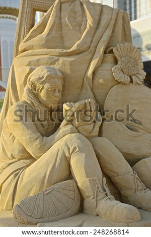 Atlantic City,NJ/USA-July 28,2014: Sand sculpting competition has evolved into a major performing arts attraction in Atlantic City, NJ. This piece of sand art was made by Michela Ciappini of Italy. - stock photo