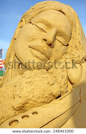 Atlantic City,NJ/USA-July 28,2014: Sand sculpting competition has evolved into a major performing arts attraction in Atlantic City, NJ. This piece of sand art was made by Melineige Beauregard. - stock photo