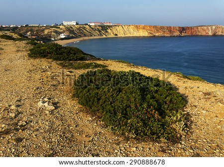 Atlantic Coast at sunset, Sagres, Portugal, Europe - stock photo