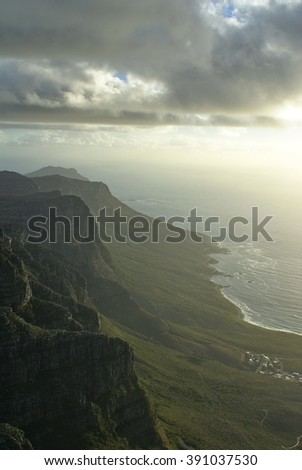Atlantic coast towards the point seen from the top of Table Mountain, South Africa - stock photo