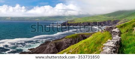 Atlantic Coastal Cliffs of Ireland on the Ring of Kerry, near Wild Atlantic Way. - stock photo