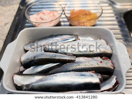Atlantic herring ready for cooking