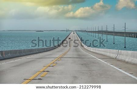 Atlantic intracoastal and highway US1. Florida Keys interstate. - stock photo