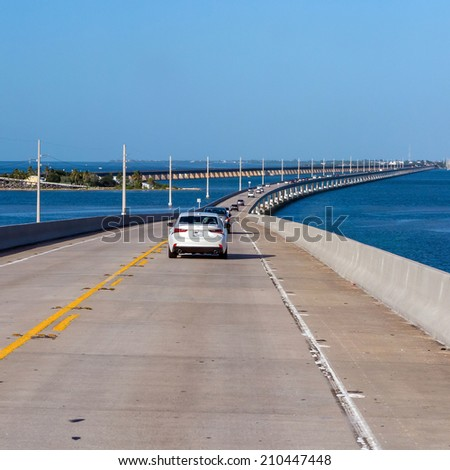 Atlantic intracoastal and highway us1. Florida Keys interstate. On the way to Key West in the sunshine state Florida - stock photo