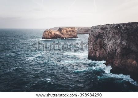 Atlantic ocean cliffs. Sagres, Algarve, Portugal. - stock photo
