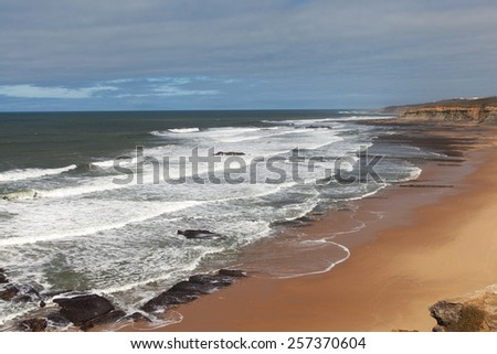 Atlantic ocean coast at Ericeira village, Portugal, Europe. - stock photo