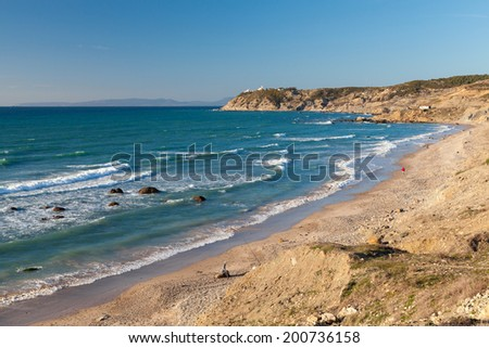 Atlantic Ocean coastal landscape, Gibraltar strait, Tangier, Morocco - stock photo