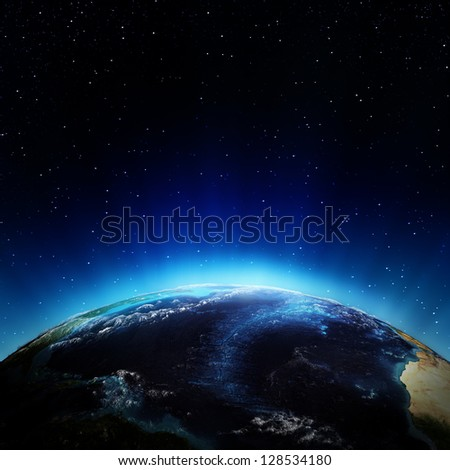 Atlantic ocean from space. Elements of this image furnished by NASA - stock photo