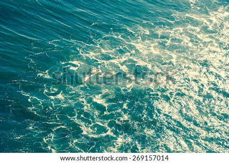 Atlantic ocean. Summer, vacation, travel, kitesurfing, parasailing and nature concept. Deep vintage green saturated post processing - stock photo