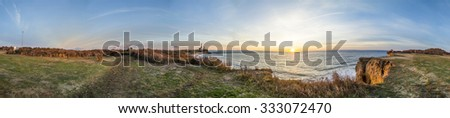 Atlantic ocean waves on the beach at Montauk Point Light, Lighthouse, Long Island, New York, Suffolk County - stock photo
