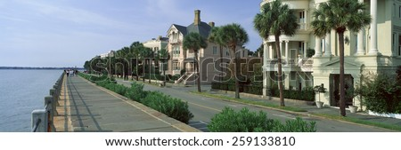 Atlantic Ocean with historic homes of Charleston, SC - stock photo