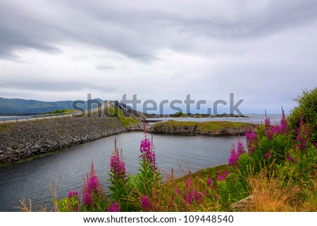 Atlantic Road and beautiful nature on a cloudy day