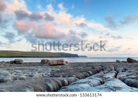Atlantic sunset over Burren - Ireland - stock photo