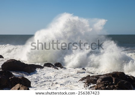 Atlantic waves at Porto city, Portugal.