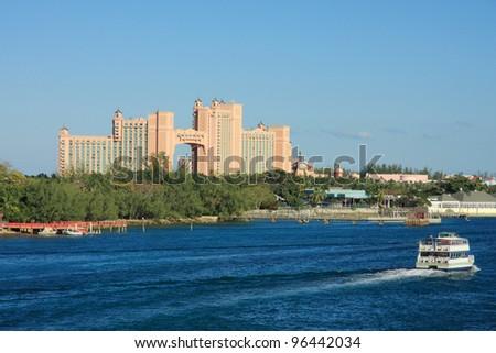 Atlantis hotel on Paradise Island in Nassau, Bahamas. - stock photo