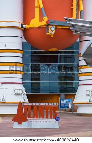 Atlantis, Kennedy Space Center entrance in Florida - stock photo