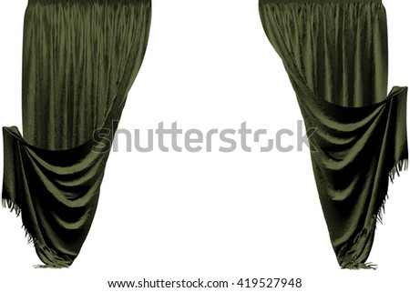 Atlas curtain. Isolated on white background. Include clipping path. 3D illustration.