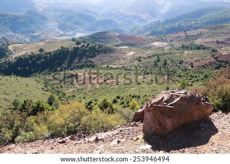 atlas mountain range mountains morocco - stock photo
