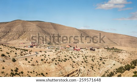 Atlas Mountains landscape with small village, Morocco - stock photo