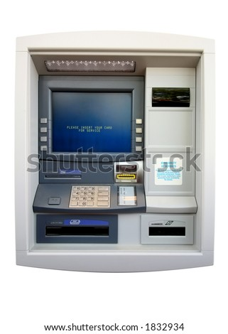 ATM - Automated Teller Machine. Isolated on white.  Includes clipping path - stock photo