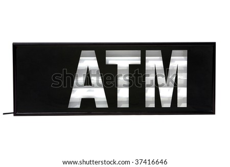 """ATM """"Automatic Teller Machine"""" sign isolated on white - stock photo"""