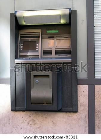ATM bancomat street sign cambio exchange change money - stock photo