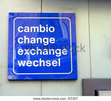 ATM bancomat street sign cambio exchange change money wechsel