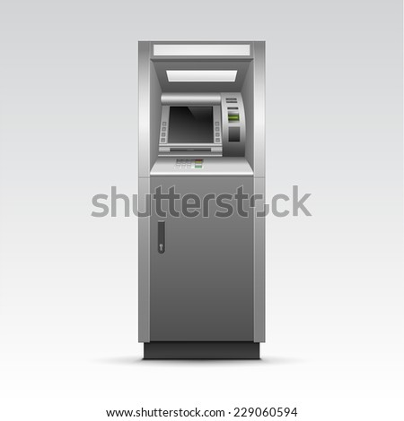 ATM Bank Cash Machine Isolated on Background - stock photo