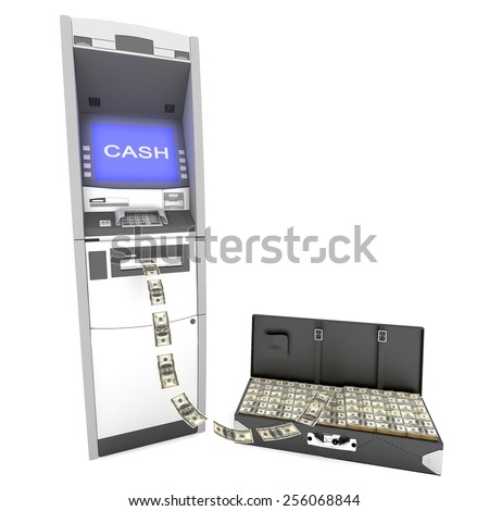 atm cash machine with Black leather suitcase - stock photo