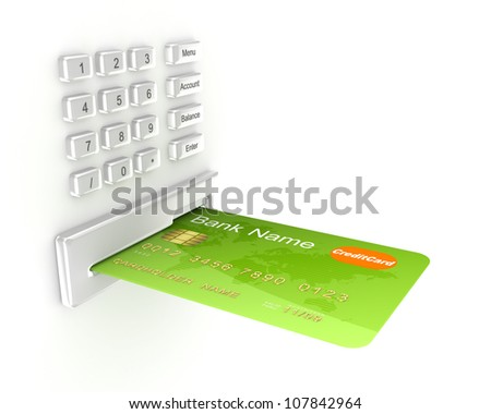 Atm concept.Isolated on white background.3d rendered. - stock photo