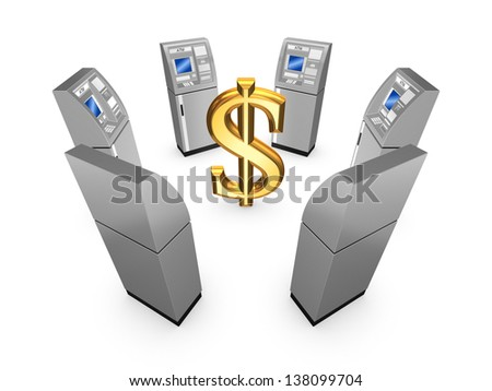 ATM concept.Isolated on white.3d rendered. - stock photo