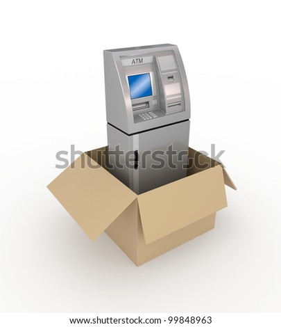 ATM in a carton box.Isolated on white background.3d rendered.