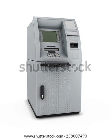 ATM isolate on white background. Automated teller machine. 3d illustration. - stock photo