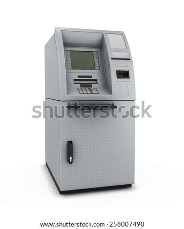 ATM isolate on white background. Automated teller machine. 3d illustration. - stock photo