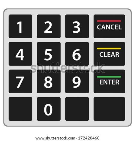 Atm keypad isolated on white.  - stock photo