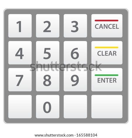 Atm keypad isolated on white. This is Raster version. - stock photo