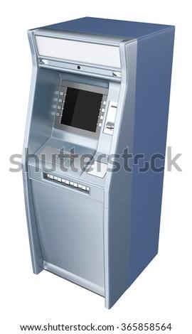ATM machine isolated on white - stock photo