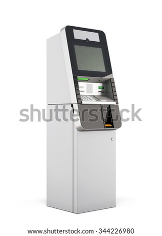ATM machine isolated on white background. 3d rendering. - stock photo