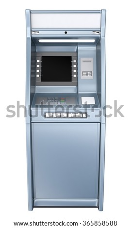 ATM machine isolated on white. Front view - stock photo